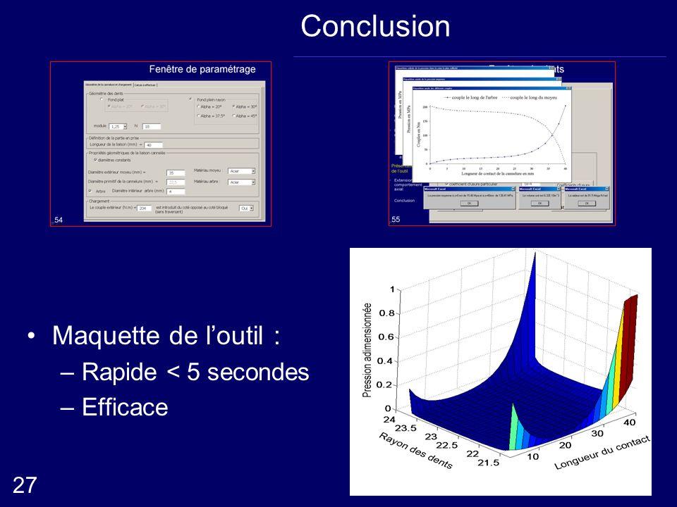 Conclusion Maquette de l'outil : Rapide < 5 secondes Efficace 27