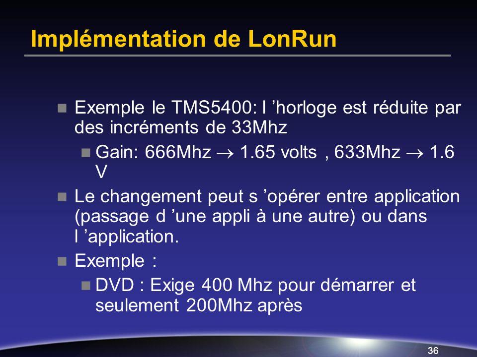 Implémentation de LonRun