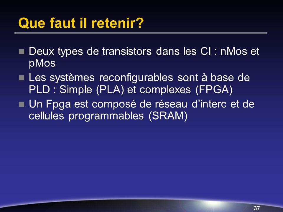 Que faut il retenir Deux types de transistors dans les CI : nMos et pMos.