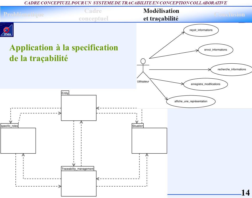 Application à la specification de la traçabilité