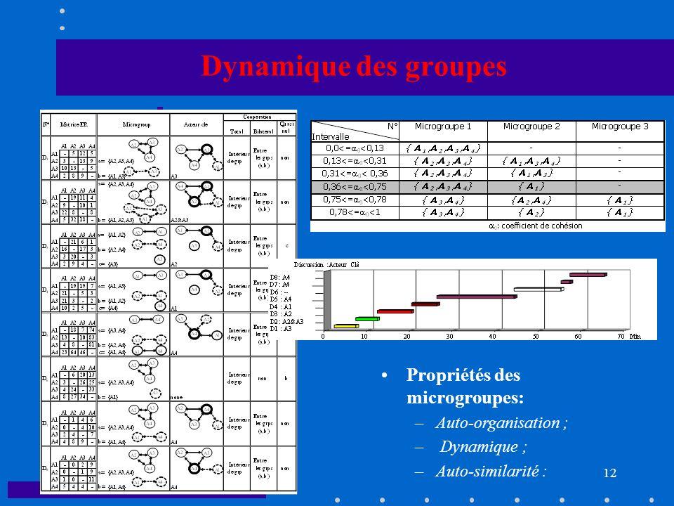 Dynamique des groupes Propriétés des microgroupes: Auto-organisation ;