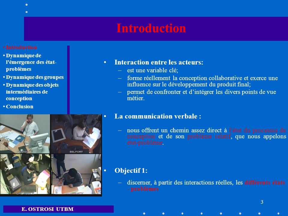 Introduction Interaction entre les acteurs: La communication verbale :
