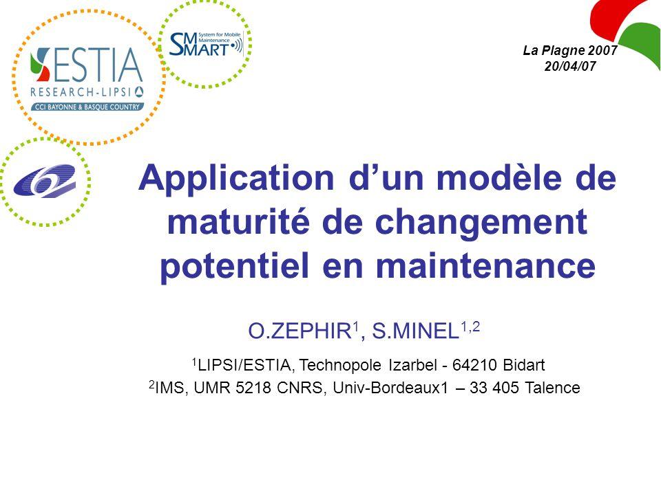 La Plagne 2007 20/04/07 Application d'un modèle de maturité de changement potentiel en maintenance.
