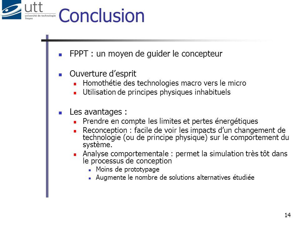 Conclusion FPPT : un moyen de guider le concepteur Ouverture d'esprit