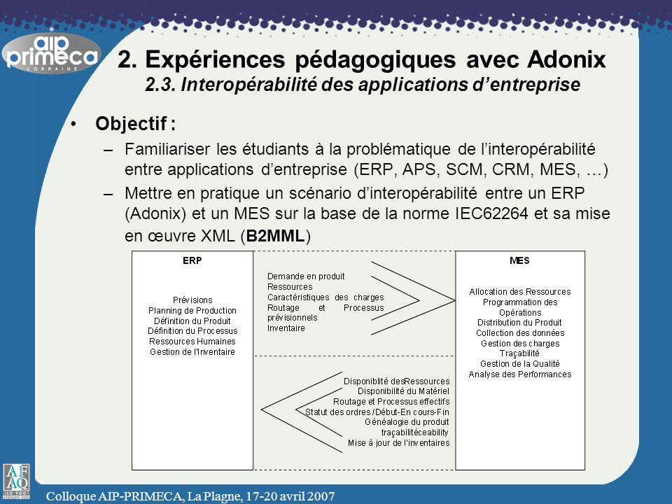 2. Expériences pédagogiques avec Adonix 2. 3