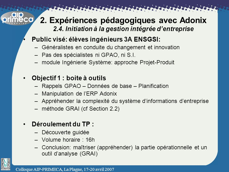 2. Expériences pédagogiques avec Adonix 2. 4
