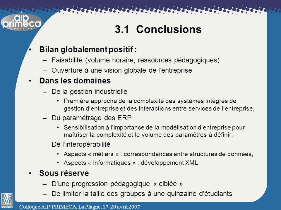 3.1 Conclusions Bilan globalement positif : Dans les domaines