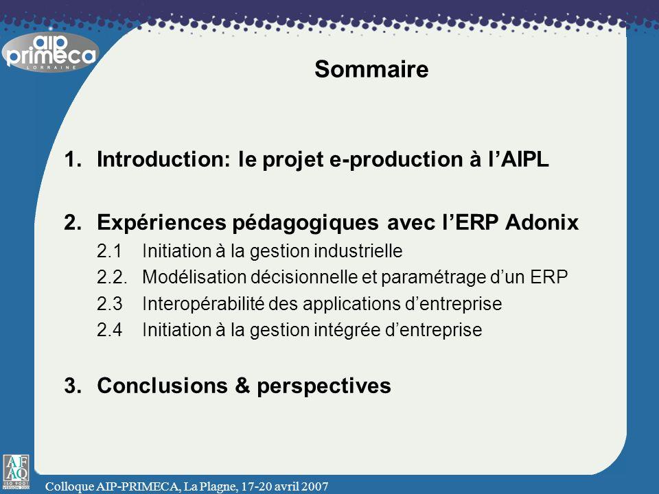 Sommaire Introduction: le projet e-production à l'AIPL