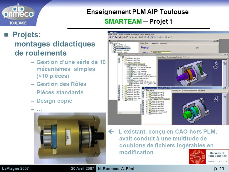 Enseignement PLM AIP Toulouse SMARTEAM ─ Projet 1