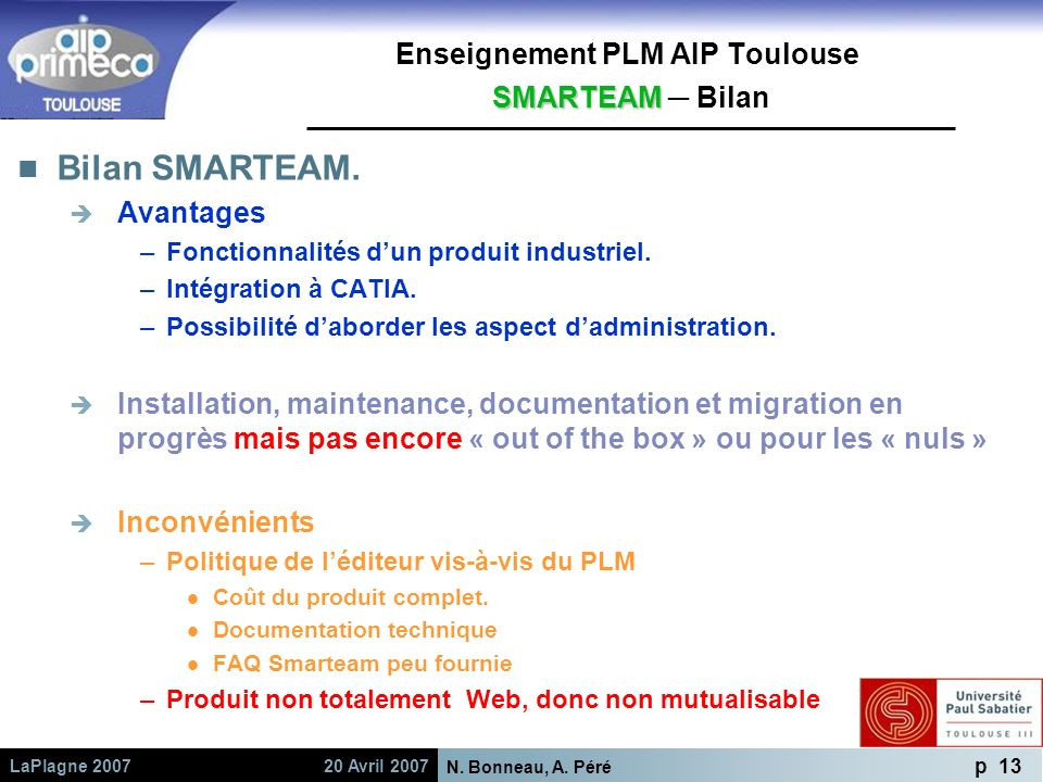 Enseignement PLM AIP Toulouse SMARTEAM ─ Bilan