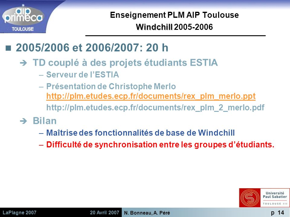 Enseignement PLM AIP Toulouse Windchill 2005-2006