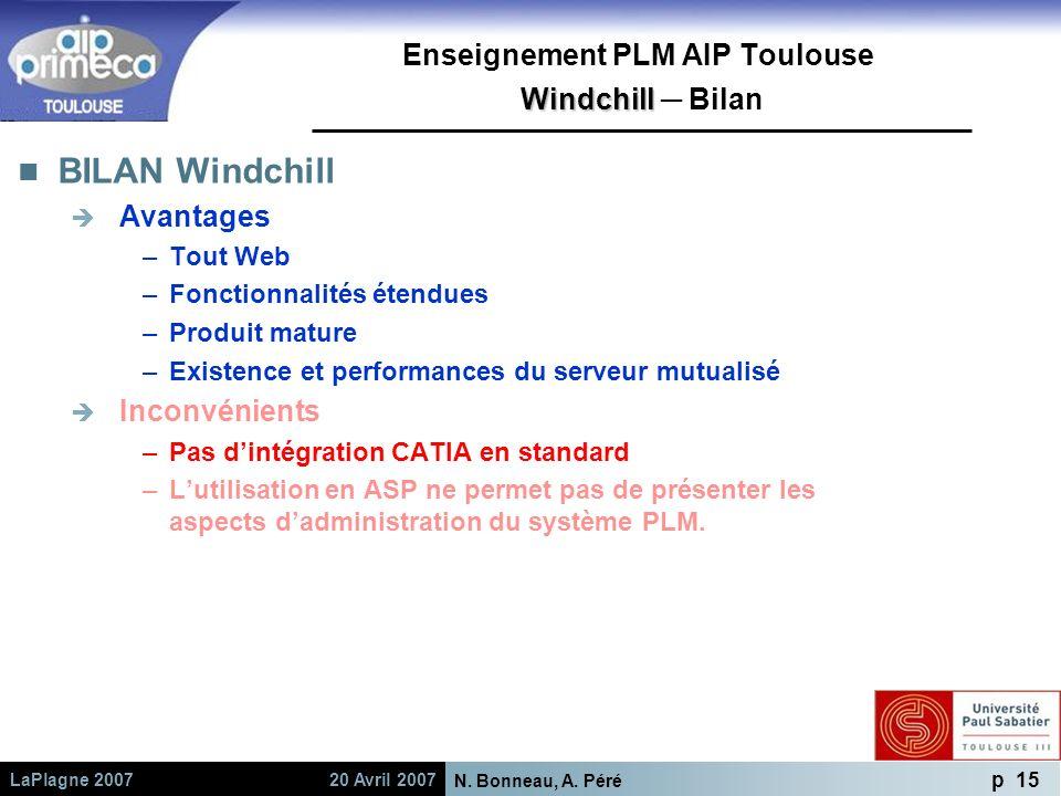 Enseignement PLM AIP Toulouse Windchill ─ Bilan