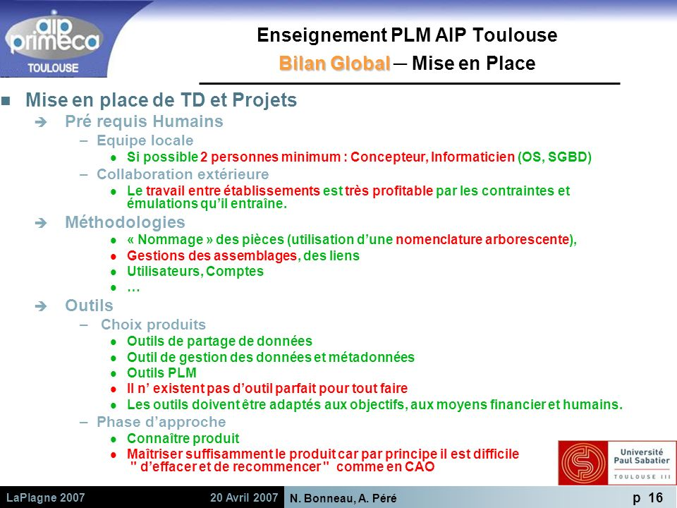 Enseignement PLM AIP Toulouse Bilan Global ─ Mise en Place