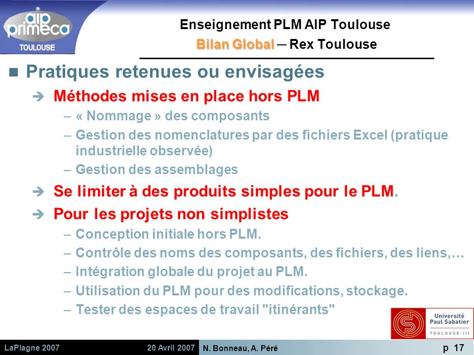 Enseignement PLM AIP Toulouse Bilan Global ─ Rex Toulouse