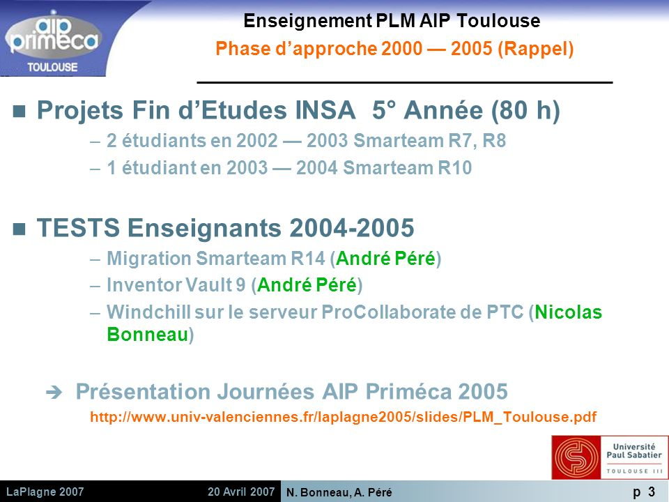 Enseignement PLM AIP Toulouse Phase d'approche 2000 — 2005 (Rappel)