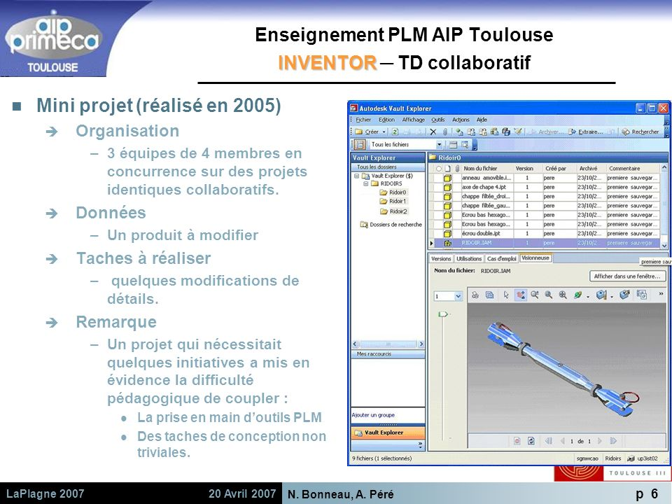 Enseignement PLM AIP Toulouse INVENTOR ─ TD collaboratif