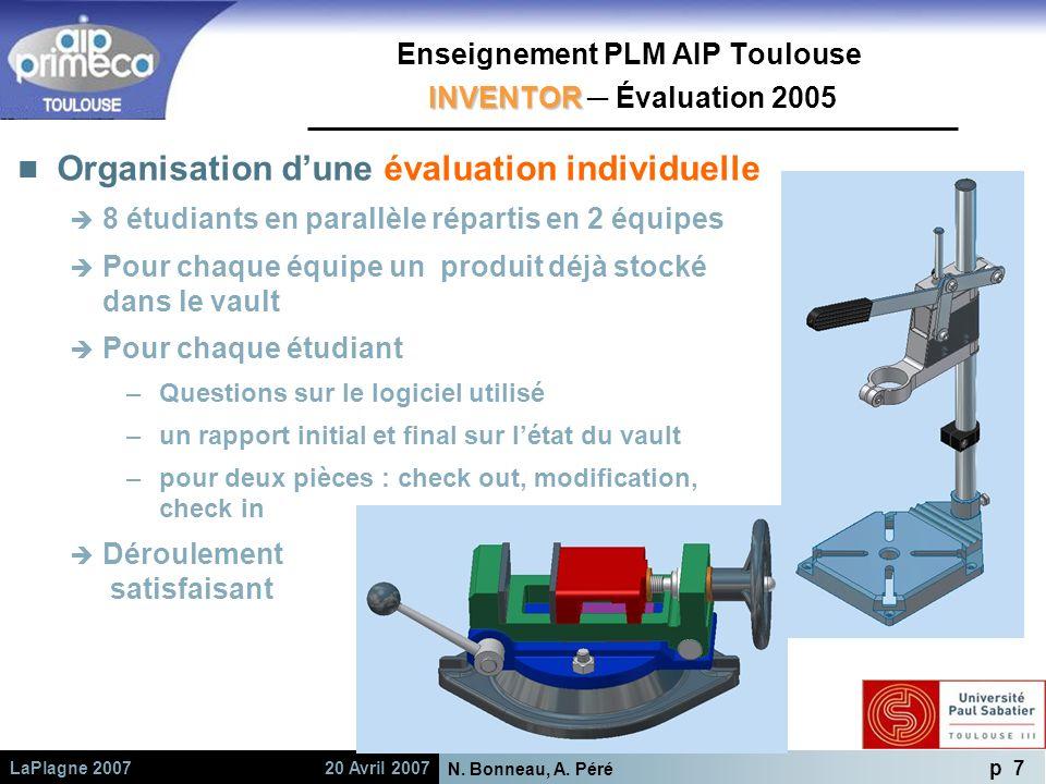 Enseignement PLM AIP Toulouse INVENTOR ─ Évaluation 2005