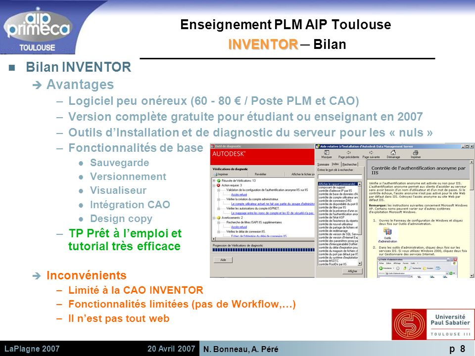 Enseignement PLM AIP Toulouse INVENTOR ─ Bilan