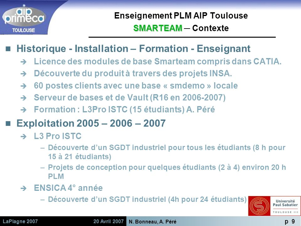Enseignement PLM AIP Toulouse SMARTEAM ─ Contexte