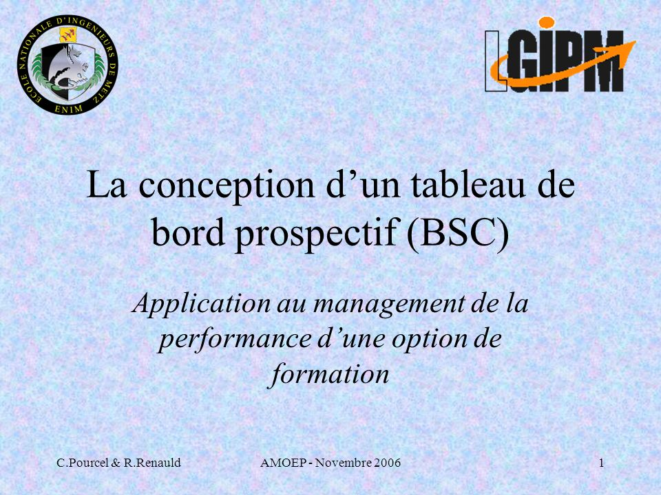 La conception d'un tableau de bord prospectif (BSC)