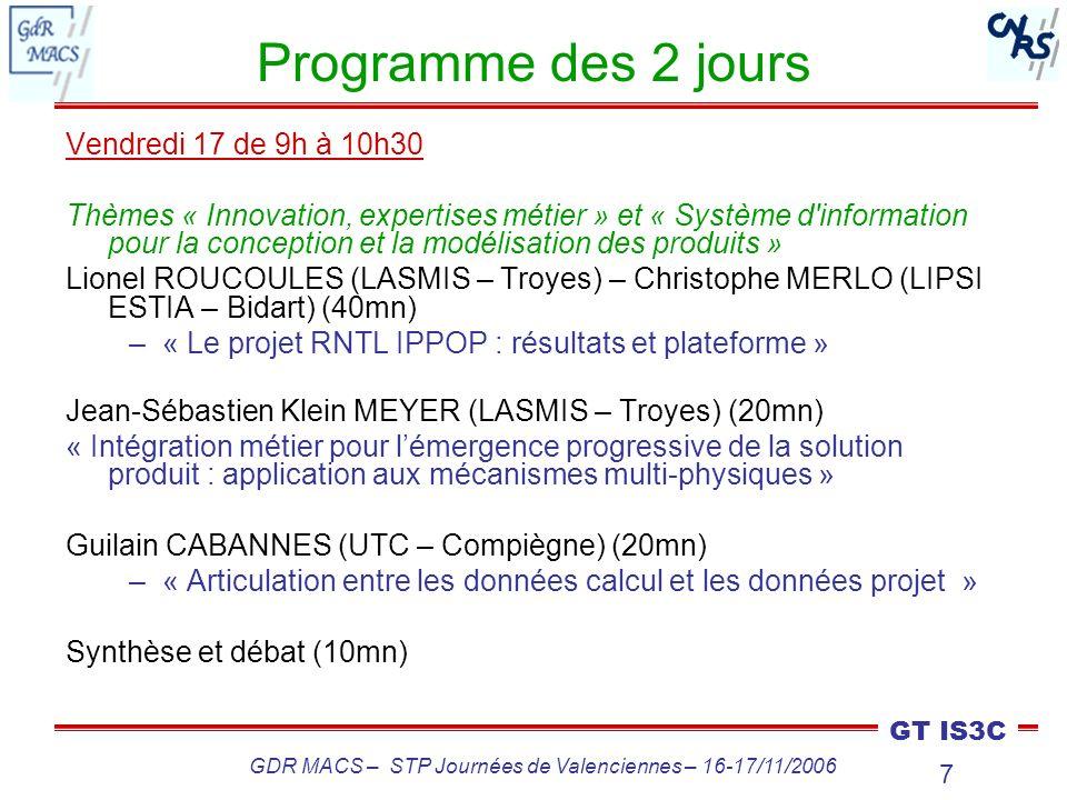 GDR MACS – STP Journées de Valenciennes – 16-17/11/2006