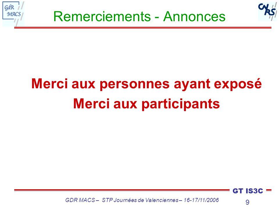 Remerciements - Annonces
