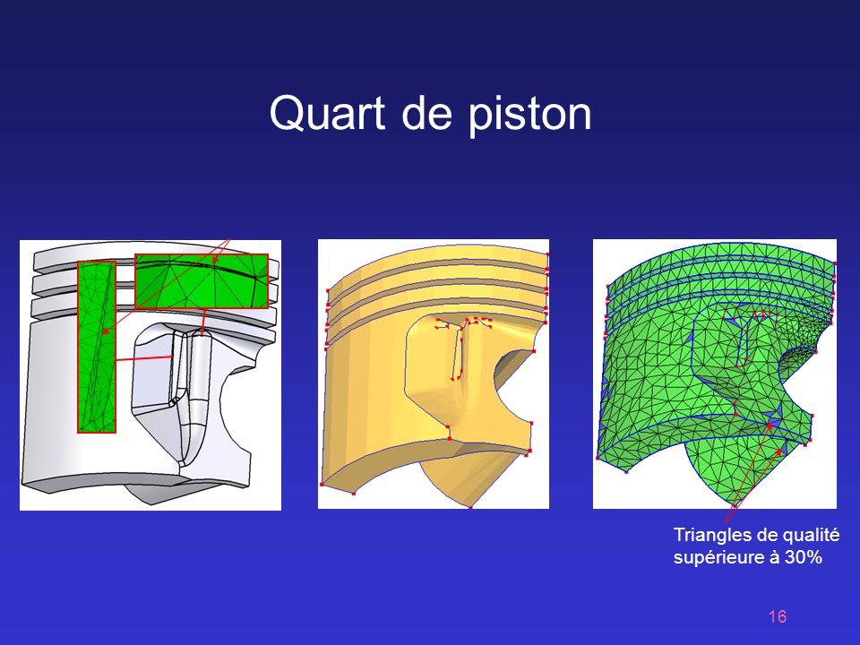 Quart de piston Triangles de qualité supérieure à 30%