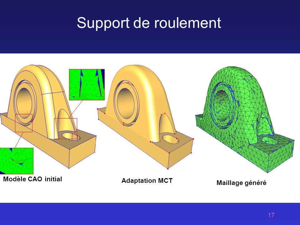 Support de roulement Modèle CAO initial Adaptation MCT Maillage généré
