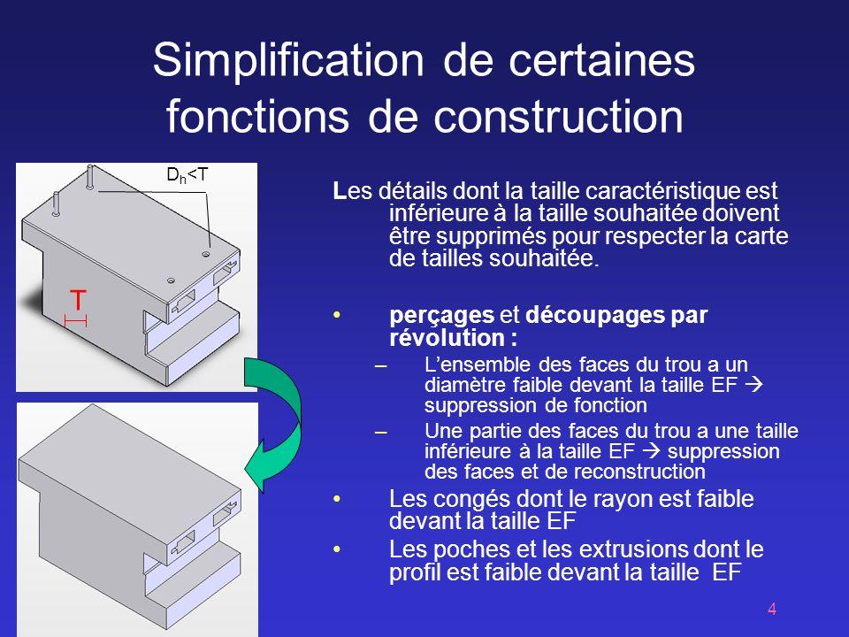 Simplification de certaines fonctions de construction