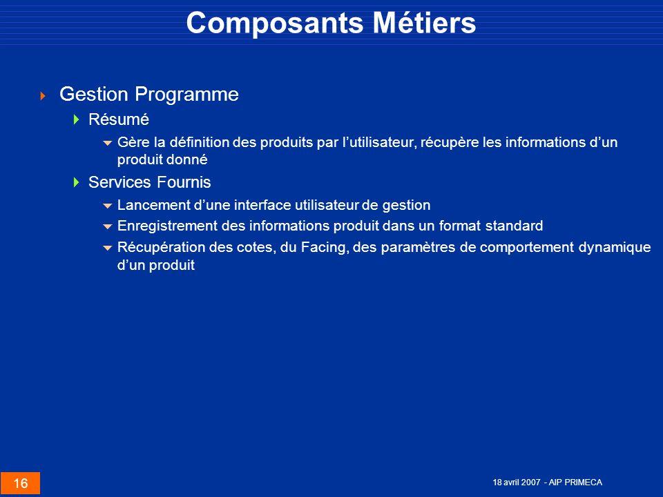 Composants Métiers Gestion Programme Résumé Services Fournis