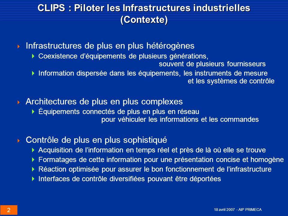 CLIPS : Piloter les Infrastructures industrielles (Contexte)
