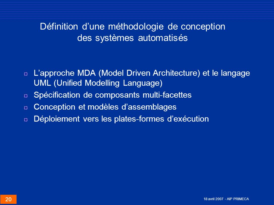 Définition d'une méthodologie de conception des systèmes automatisés