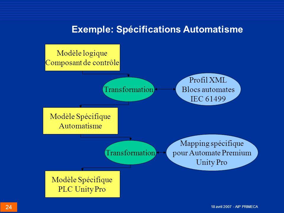 Exemple: Spécifications Automatisme