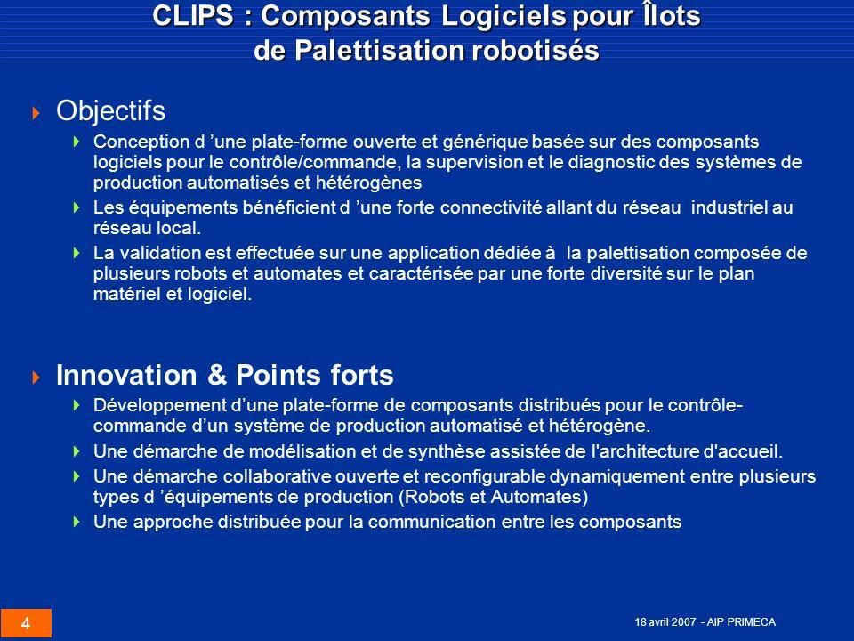 CLIPS : Composants Logiciels pour Îlots de Palettisation robotisés
