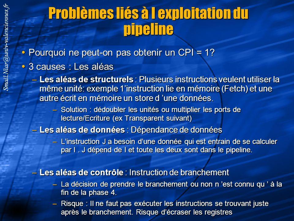 Problèmes liés à l exploitation du pipeline