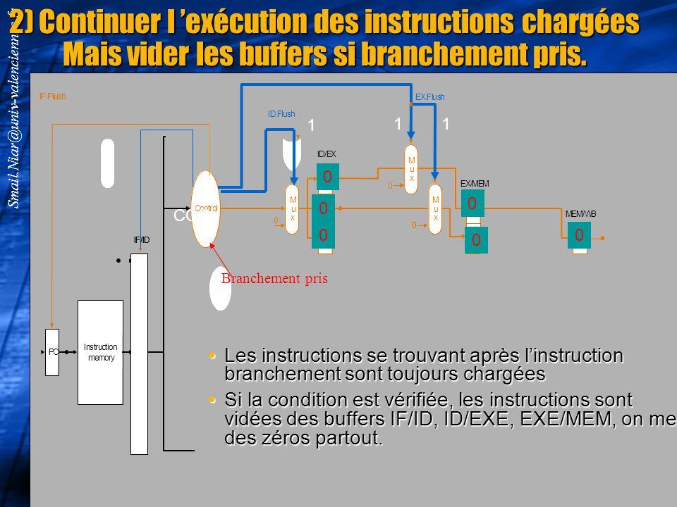 2) Continuer l 'exécution des instructions chargées Mais vider les buffers si branchement pris.