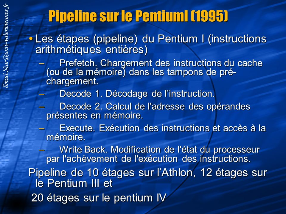 Pipeline sur le PentiumI (1995)