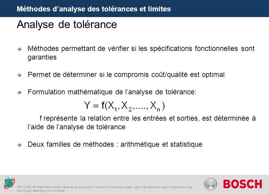 Analyse de tolérance Méthodes d'analyse des tolérances et limites