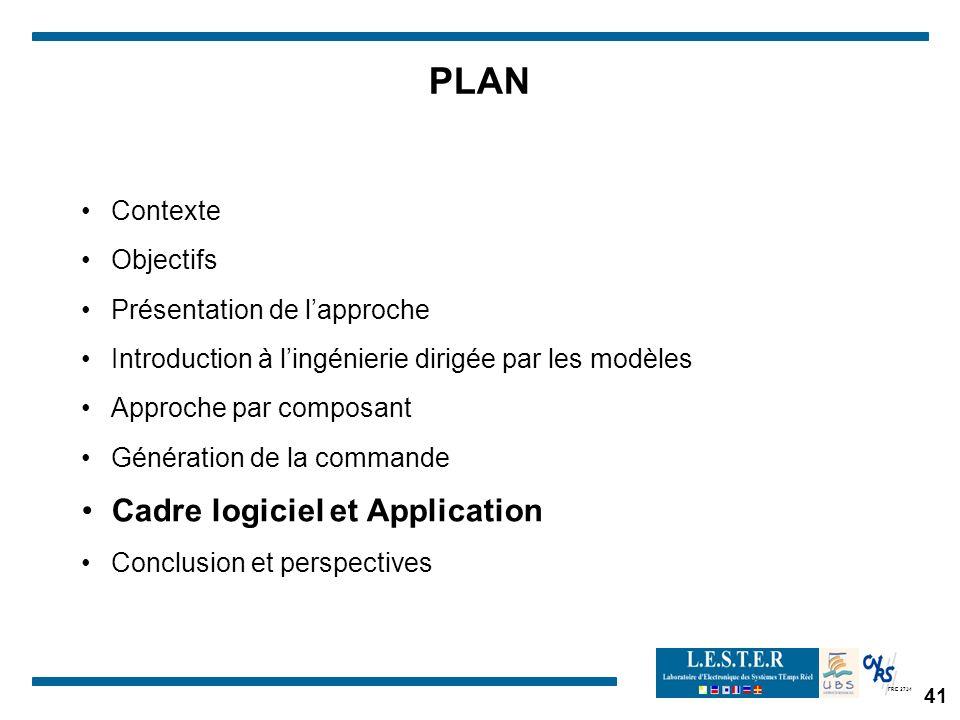 PLAN Cadre logiciel et Application Contexte Objectifs