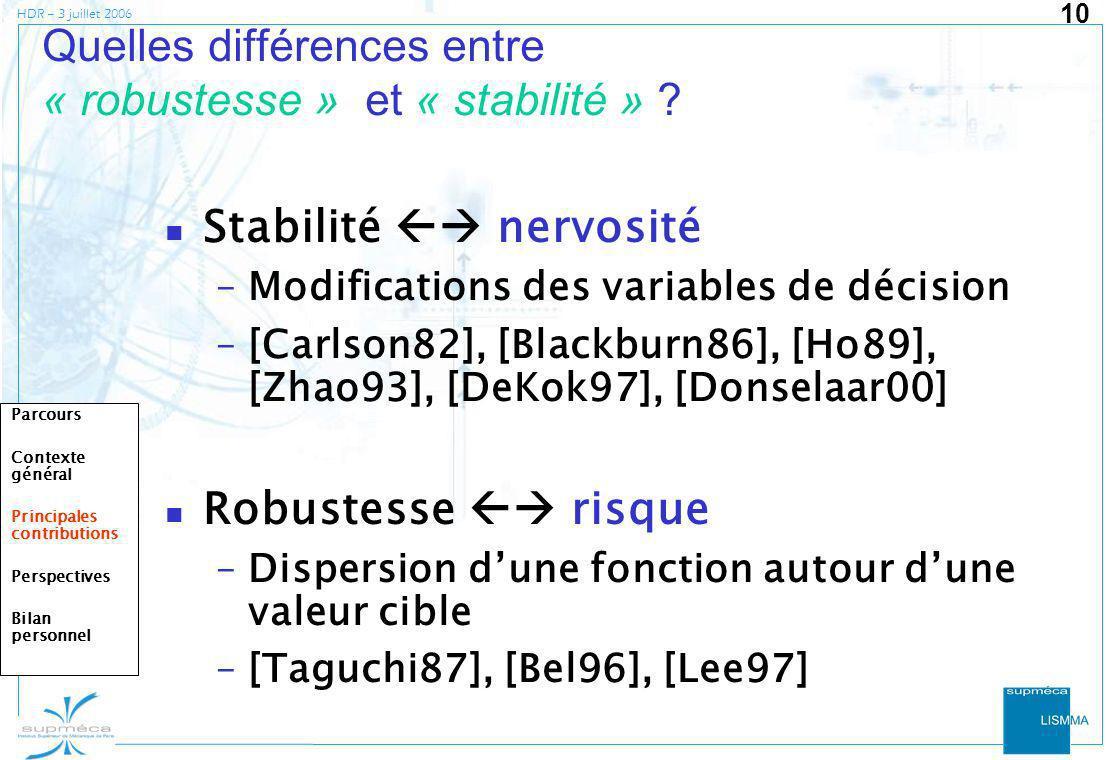 Quelles différences entre « robustesse » et « stabilité »