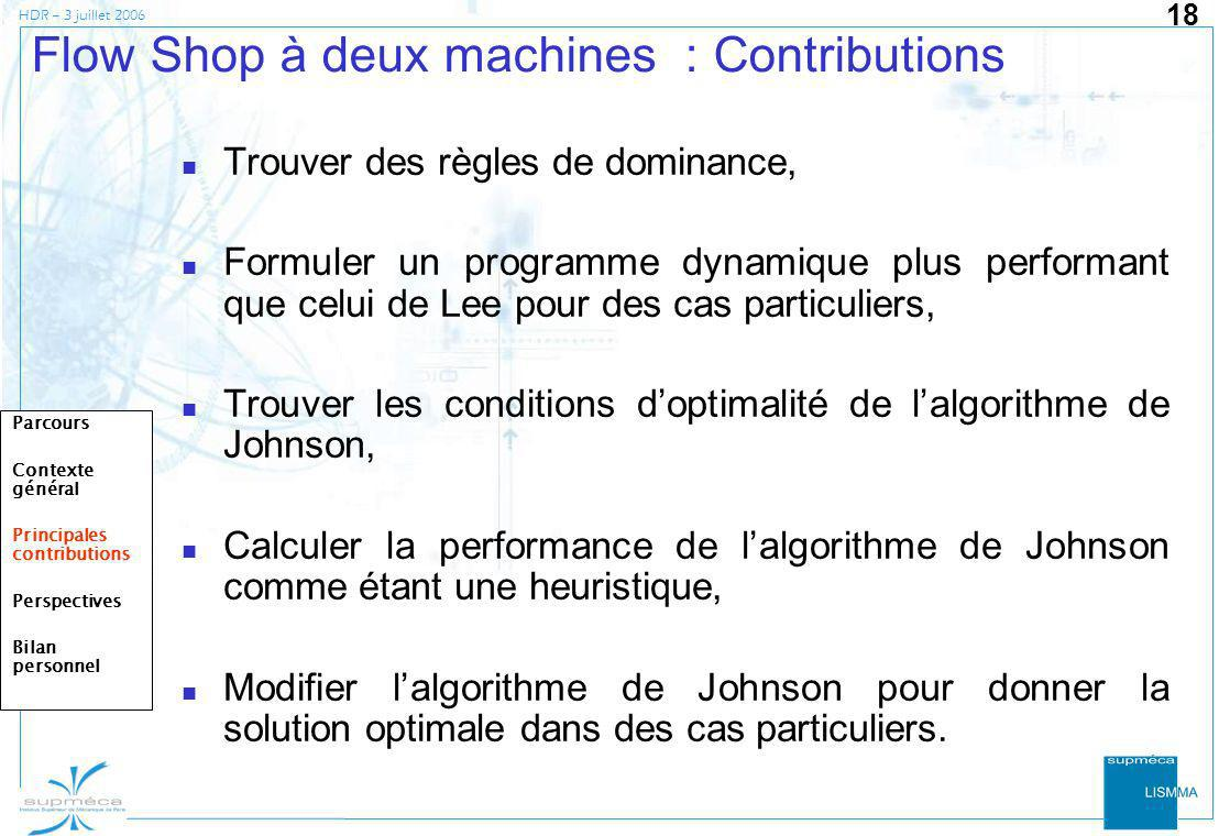 Flow Shop à deux machines : Contributions