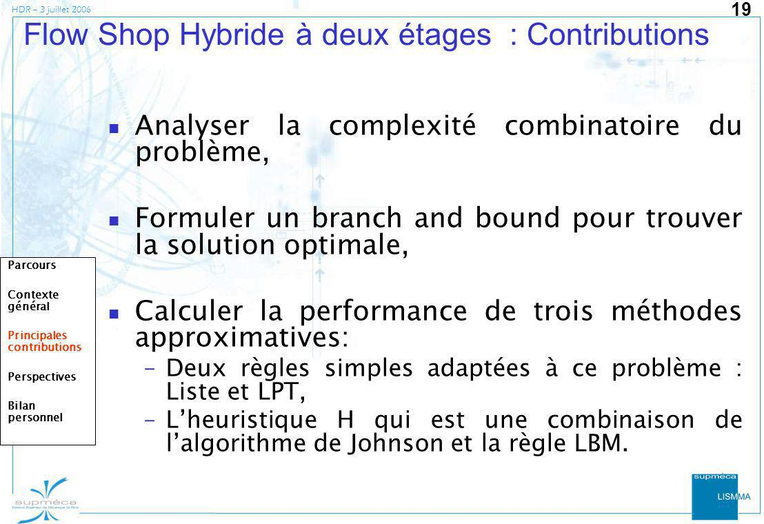 Flow Shop Hybride à deux étages : Contributions