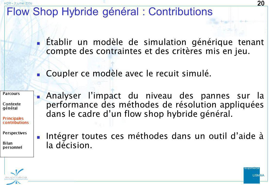 Flow Shop Hybride général : Contributions