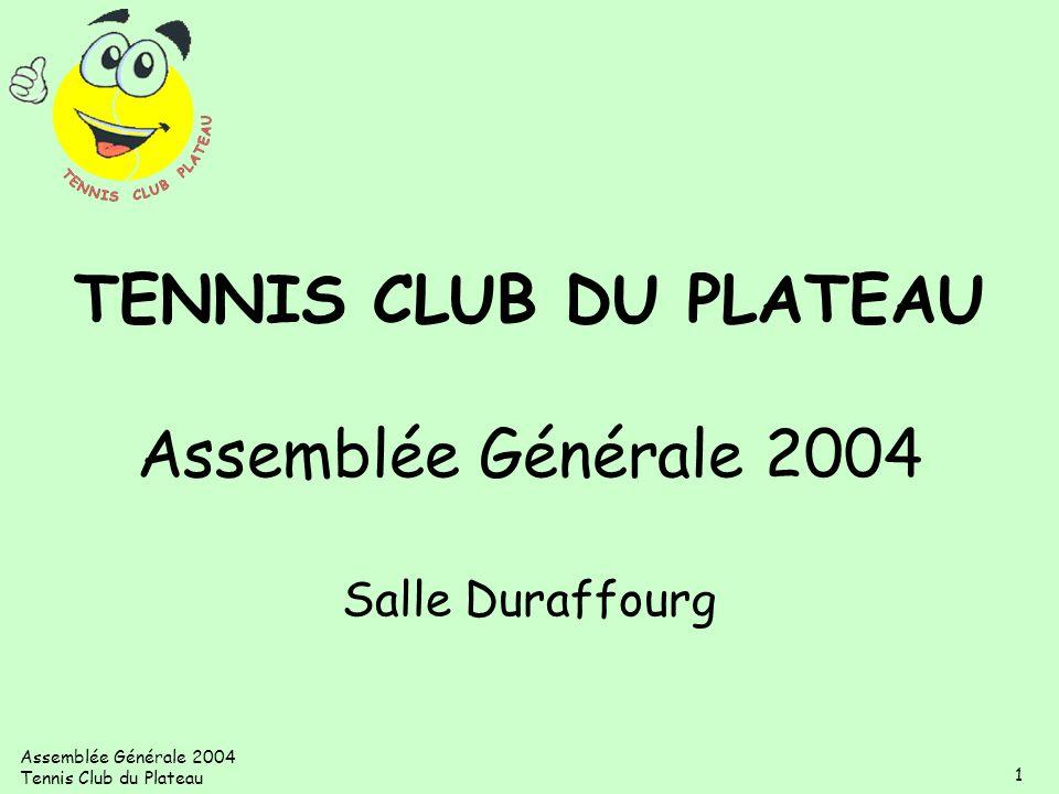 TENNIS CLUB DU PLATEAU Assemblée Générale 2004 Salle Duraffourg