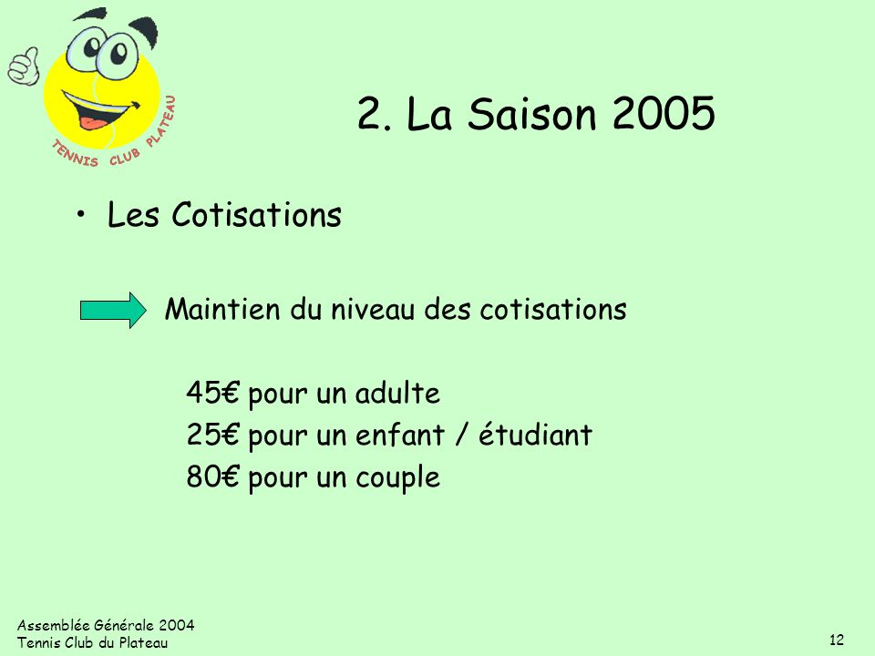 2. La Saison 2005 Les Cotisations Maintien du niveau des cotisations