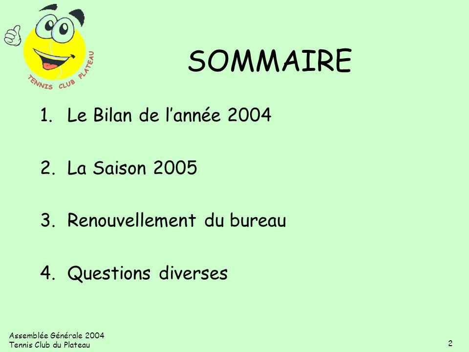 SOMMAIRE Le Bilan de l'année 2004 La Saison 2005