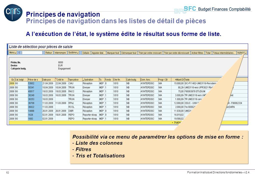 Principes de navigation Principes de navigation dans les listes de détail de pièces