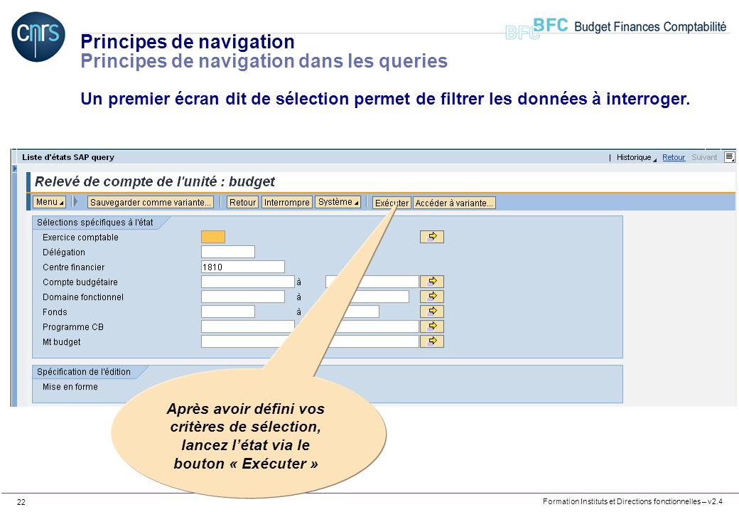 Principes de navigation Principes de navigation dans les queries