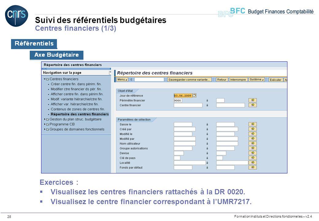 Suivi des référentiels budgétaires Centres financiers (1/3)