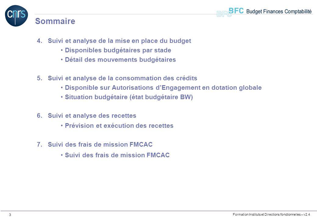 Sommaire Suivi et analyse de la mise en place du budget